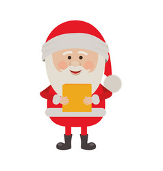 Colorful silhouette of santa claus with package vector