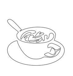 Continuous line drawing cup coffee vector