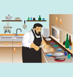 Cooker man concept background cartoon style vector