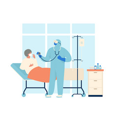 coronavirus patient is in hospital novel vector image