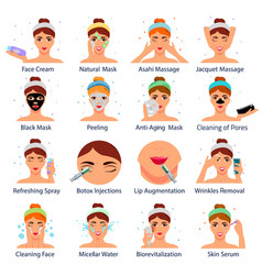 Cosmetic procedures flat set vector