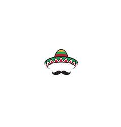creative mexican sombrero mustache head vector image
