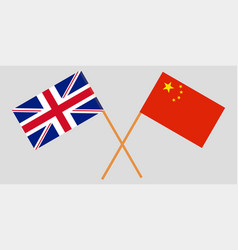 crossed desktop flags china and great britain vector image