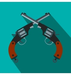 Crossed revolvers flat icon vector