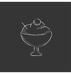 Cup of ice cream Drawn in chalk icon vector image
