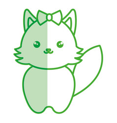 cute and tender female fox kawaii style vector image