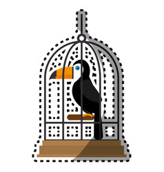 Cute bird toucan in cage mascot vector
