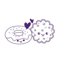Cute cookie and donut love hearts kawaii cartoon vector