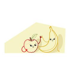 cute yellow banana with red apple cartoon comic vector image