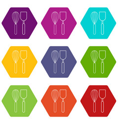 cutlery bake icons set 9 vector image