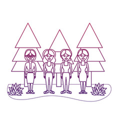 degraded outline women friends together with pine vector image