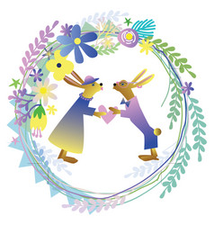 Easter bunnies in a floral wreath vector