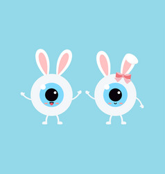 Easter cute eye ball with bunny ears icon set vector