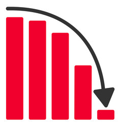 Falling acceleration chart flat icon vector