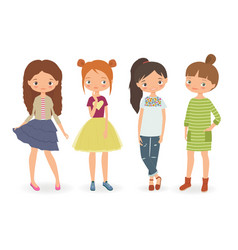 fashion stylish girls vector image