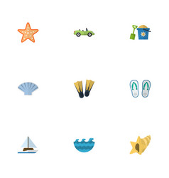 flat icons sea car shell and other vector image