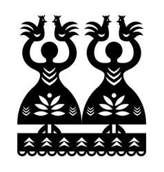 Folk art form poland wycinanki kurpiowskie vector