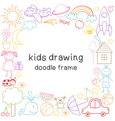 frame with kids drawing vector image