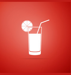 glass of juice icon isolated on red background vector image