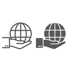 globe on hand line and glyph icon ecology vector image