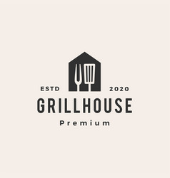 grill house spatula fork hipster vintage logo icon vector image