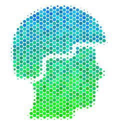 Halftone blue-green soldier helmet icon vector
