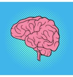 Hand drawn pop art of brain Retro style vector