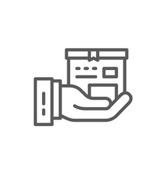 hand with box express delivery line icon vector image