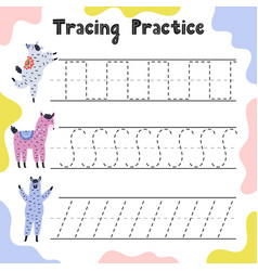 Handwriting practice with funny llamas for kids vector