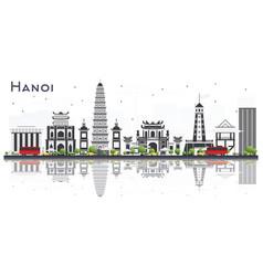 Hanoi vietnam city skyline with gray buildings vector