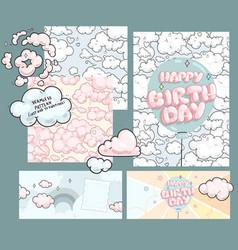 Happy birthday baby design set vector