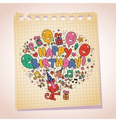 Happy birthday cute kitten note paper cartoon vector