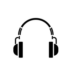 headphones icon black sign vector image