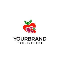 heart fruit logo design concept template vector image