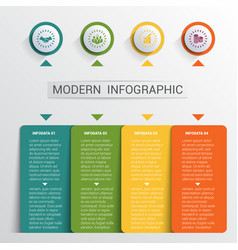 infographics design template color buttons and 4 vector image