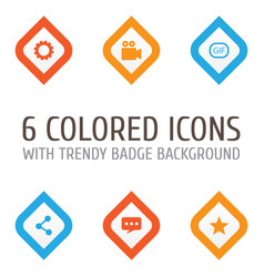 Internet icons set collection gear gif vector