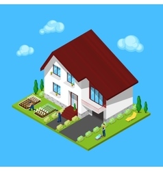 Isometric House with Green Yard and Gardeners vector
