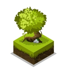 Isometric nature land grass and tree vector