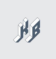 Kb - logo or 2-letter code isometric 3d font vector