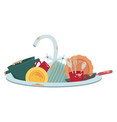 Kitchen sink with dirty dishes vector