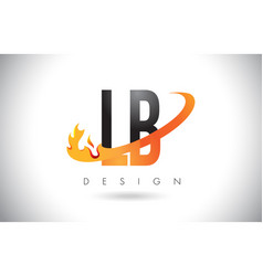 Lb l b letter logo with fire flames design and vector