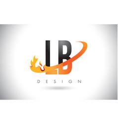 lb l b letter logo with fire flames design vector image
