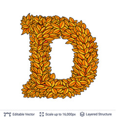 Letter d sign of autumn leaves vector