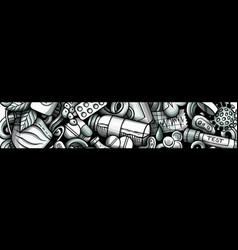 Medicine hand drawn doodle banner cartoon vector