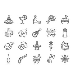 mexican line icon set vector image