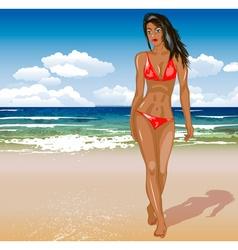 Model Posing in a Bikini on a Beach vector