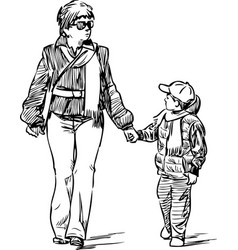 Mother with her son on a walk vector