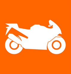 Motorcycle white icon vector