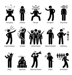 negative bad personalities character traits stick vector image