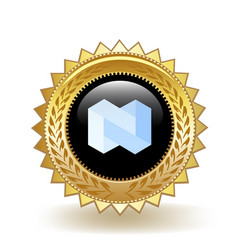 Nexo cryptocurrency coin gold badge vector